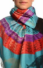 Silver Lurex and Elephants On Blue Pashmina With Tassels (SF002637)