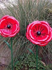 Poppy Remembrance Day Metal Garden Ornament Stake