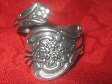 USA VINTAGE STYLE SILVER  ROSE FLORAL SPOON RING SIZES 4-5 ADJUSTABLE RINGS
