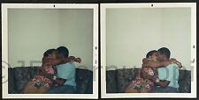 YOUNG BLACK COUPLE KISSING 1968 OAKLAND 2 POLAROID PHOTOS AFRICAN AMERICAN 1960S
