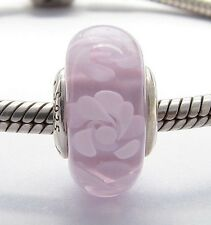 PINK FLOWERS MURANO GLASS CHARM Sterling Silver.925 for European Bracelet 594