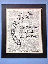 She Believed She Could So .. Feather Birds  gift Idea Antique Dictionary Art # 4