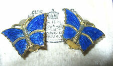 Fine VINTAGE Antique ART DECO Cobalt BLUE Enamel BUTTERFLY Gilt CLIP ON EARRINGS