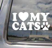 I Heart My Cats - Love Paw Kitten - Car Window Vinyl Decal Sticker 01030