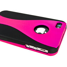 Black & Pink Apple iPhone 4S 3 Piece Hard Case Protector Cover At&t Verizon New