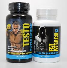 Testo Ripped Extreme Increase Strength  Muscle  & Fat Attack Xl Fat Annihilation