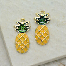 Set of 2 Enamel Pineapple Charm - 24K Gold Plated Brass Hawaii Pendant Charms