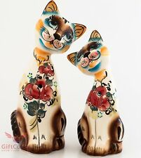 Porcelain Cat lovely couple Figurines Gzhel multi color handmade hand-painted