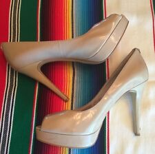 Michael Kors SZ.10 York Platform Nude Patent Leather Heel Peep Toe Pump For Fall