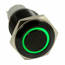 New Black 16mm 12V Green Angel Eye Led Metal Momentary Push Button Switch