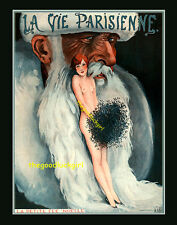 1926 Nude w/ Santa LA PETITE NOELLE Vtg La Vie Parisienne 8x10 Leonnec Art print