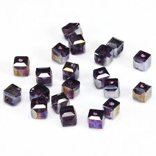 10pcs purple ab 8mm Faceted Square Cube Cut glass crystal Spacer beads.