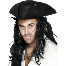 Unisex Pirata Tricorn Sombrero W Tachas Fancy Dress Caribe Jack Sparrow Dick Turpin