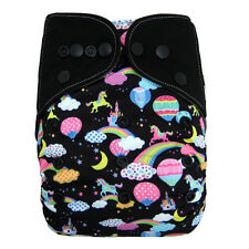 EcoAble Baby Charcoal Bamboo AIO All-In-One Cloth Diaper with Pocket, Unicorn