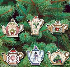 Janlynn Counted Cross Stitch kit ~ CHRISTMAS TEAPOT ORNAMENTS #021-1486 Sale