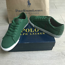 BNIB Ralph Lauren canvas trainers sneakers UK 9 Eu 43 Gorgeous Green 100%Genuine