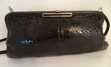 JANE SHILTON BLACK SNAKESKIN  LEATHER CLUTCH OR SHOULDER BAG HANDBAG FRAME