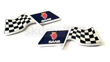 SET of 2x SAAB SPORTS RACING FLAG Metal Chrome Car Badge Sticker Decal Emblem