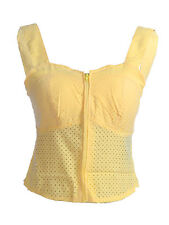 Anna-Kaci S/M Fit Yellow Sweetheart Neckline Laser Cut Eyelet Lace Bustier Top