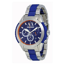 Armani Exchange Chronograph Blue Dial Stainless Steel and Blue Silicone-wrapped