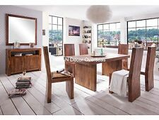 KraftNDecor Wooden Dining Set with 1 Table and  6 Chairs in Brown Colour