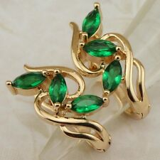 Crazy Green Emerald Three Stone Jewelry Yellow Gold Filled Huggie Earrings h2018