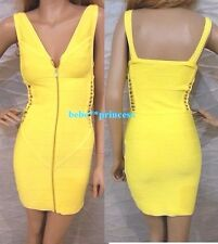 NWT bebe yellow side cutout straps zipper front bandage top dress S small club