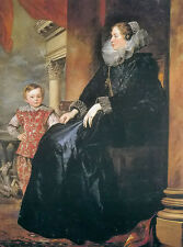 Oil painting Anthony van dyck - Genoa lady and his son free shipping on canvas @