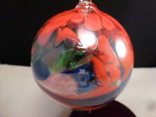 "CHRISTMAS Ornament Hand Blown POLAND ART Glass Ball MULTI ORANGE    3"""