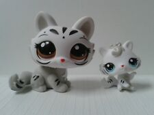 Littlest Pet Shop LPS  #3585 3586 mommy and baby white grey gray black tiger