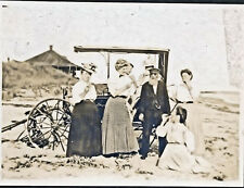 c1890 At The Beach, Buggy, 7 People, Clamming? Matted Sepia Photograph