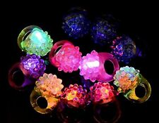 200 LED FLASHING COLOR LIGHT UP BUMPY RINGS RAVES PARTY JELLY RING favor