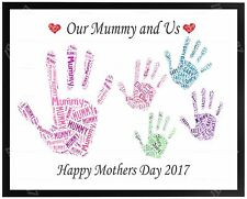 Mummy MUM Birthday Mothers Day Gift Present  - Personalised Family Hand Print A4