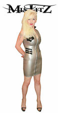 MISFITZ  RUBBER LATEX PEARLSHEEN SILVER MILITARY DRESS SIZES 8 - 32 0R CUSTOM