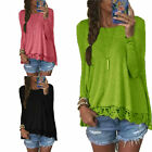 Fashion Women's Summer Long Sleeve Loose Floral Lace T Shirt Blouse Cotton Tops