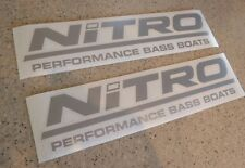 """Nitro Vintage Fishing Boat Decal Die-Cut 12"""" SILVER FREE SHIP + FREE Fish Decal!"""