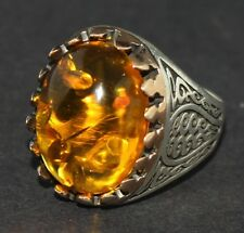 925 sterling silver men ring . amber stone