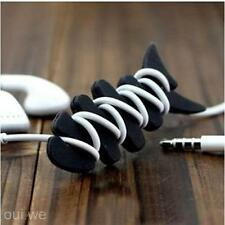 2Pcs Silicone Rubber Fish Bone Headphone Earphone Cord Winder Organizer Holder