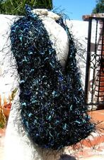 HAND CREATED LIGHTWEIGHT BLUE & BLACK FUZZY YARN COWL NECK SCARF FREE SHIPPING !