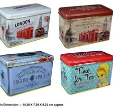 FOUR EARL GREY ENGLISH BREAKFAST TEA BAGS IN HINGED TINS LONDON UK SOUVENIR GIFT