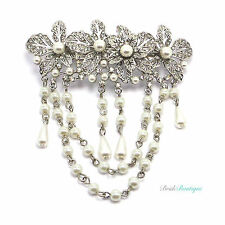 Boho Vintage Silver Flower Crystal & Pearl Hair Chains Barrette Clip Grip CL19