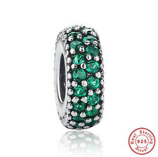 New European Sparkling Green Crystal Silver CZ Charm Beads Fit Bracelet/Bangle