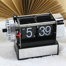 Antique Retro Metal Digital Flip Down Clock Gear Desk Table Stand Alarm Decor