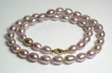 8x10mm AAA quality lavender pink freshwater pearl & 9 carat gold necklace