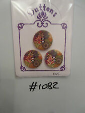 #1082 Lot of 3 Wooden Round Buttons