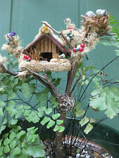 Birdhouse Décor Handcrafted for Dry or Fresh Flowers Arrangements or Planters-1A