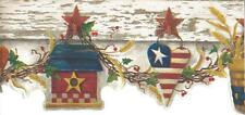 Wallpaper Border Patriotic Country Hearts Baskets Angels Stars on Off White Trim
