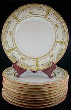 Ten Minton China Dinner Plates - Corinth - Beige Urns + Laurel + Rust Trim