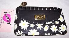 Betsey Johnson POUCH PACKET TOP ZIP Wallet BLACK FLORAL ~ NWT $48