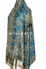 TripleLayer Sparkling 55%Pashmina &45%Silk Shawl-Blue